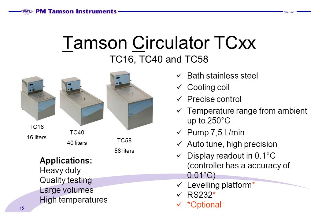 Tamson Circulator TCxx TC16, TC40 and TC58