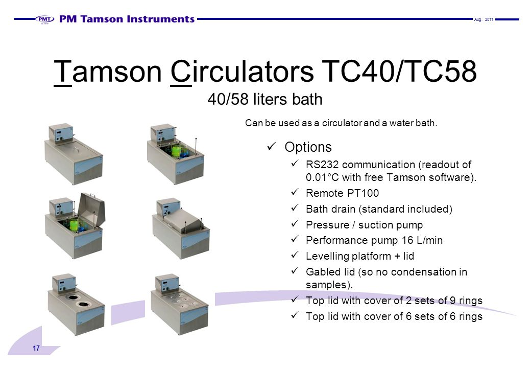 Tamson Circulators TC40/TC58 40/58 liters bath