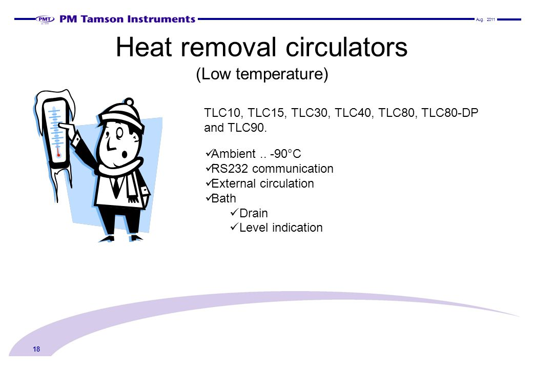 Heat removal circulators (Low temperature)