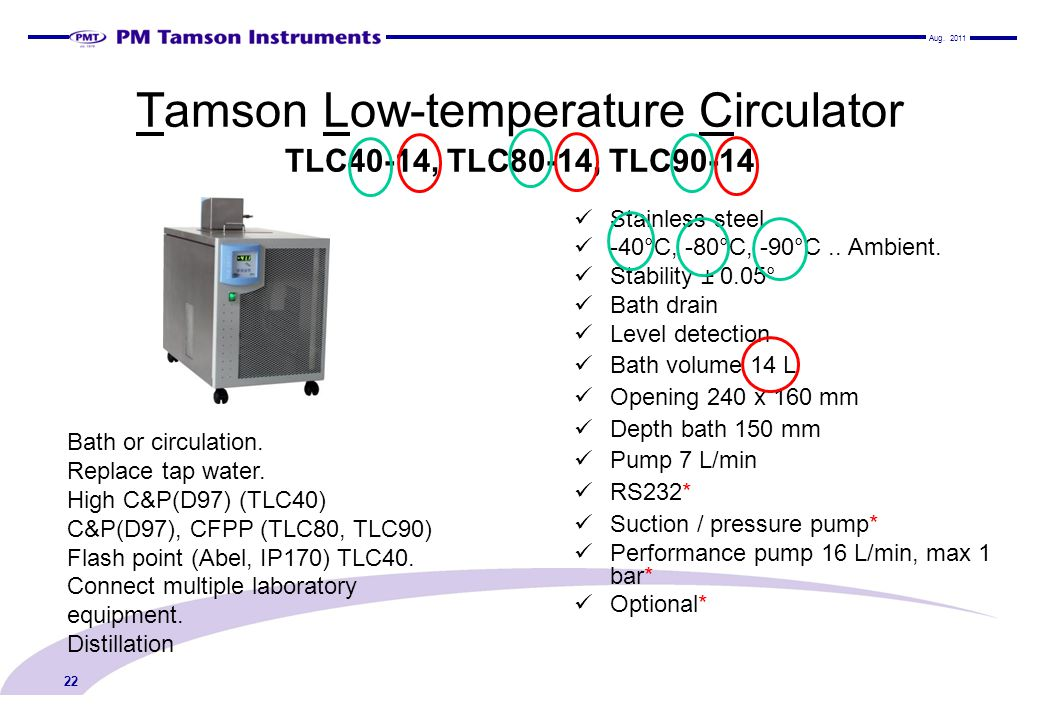 Tamson Low-temperature Circulator TLC40-14, TLC80-14, TLC90-14