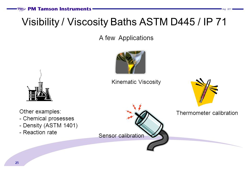 Visibility / Viscosity Baths ASTM D445 / IP 71 A few Applications