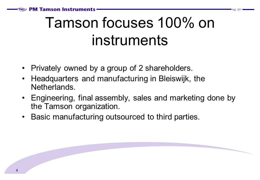 Tamson focuses 100% on instruments