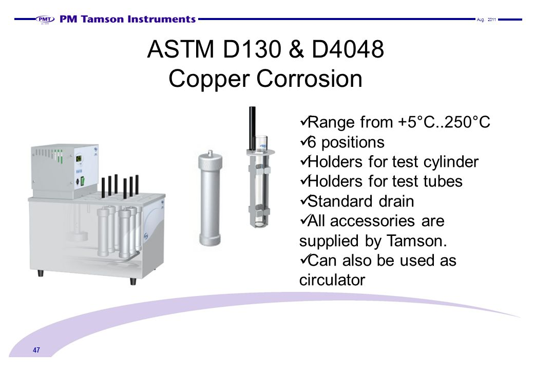 ASTM D130 & D4048 Copper Corrosion