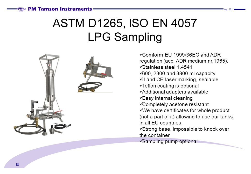 ASTM D1265, ISO EN 4057 LPG Sampling