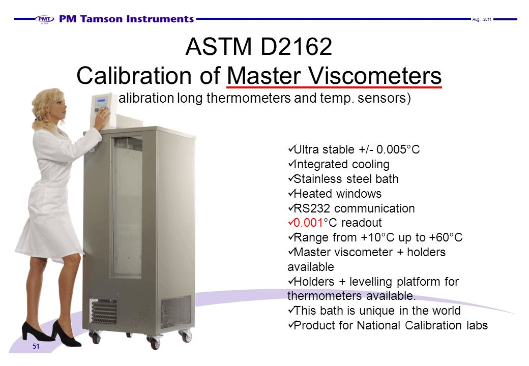 Aug ASTM D2162 Calibration of Master Viscometers (calibration long thermometers and temp. sensors)