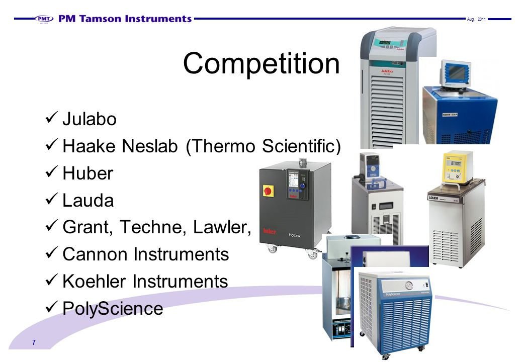 Competition Julabo Haake Neslab (Thermo Scientific) Huber Lauda