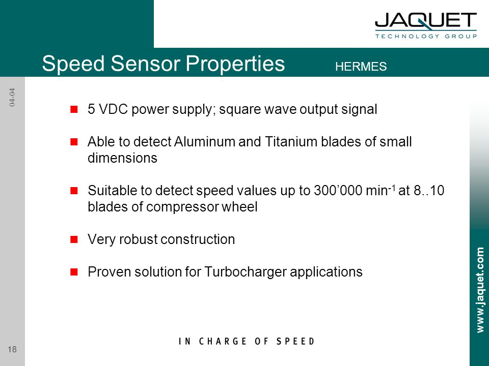 Speed Sensor Properties HERMES