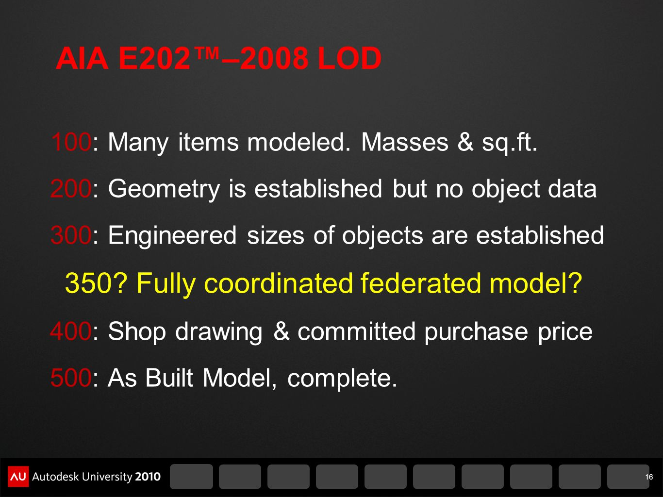 AIA E202™–2008 LOD 350 Fully coordinated federated model