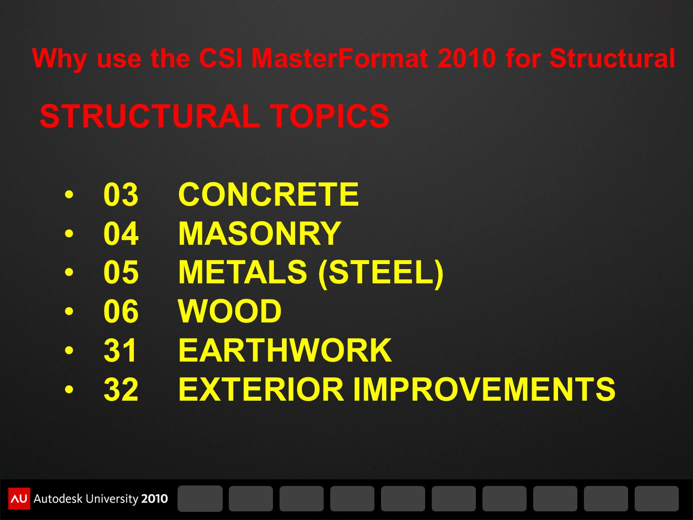 Why use the CSI MasterFormat 2010 for Structural