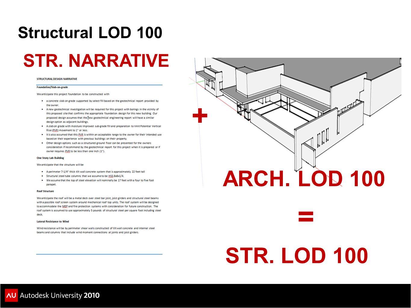 Structural LOD 100 STR. NARRATIVE + ARCH. LOD 100 = STR. LOD 100