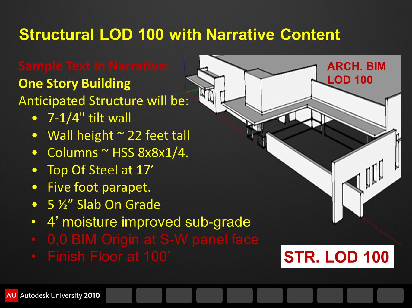 Structural LOD 100 with Narrative Content