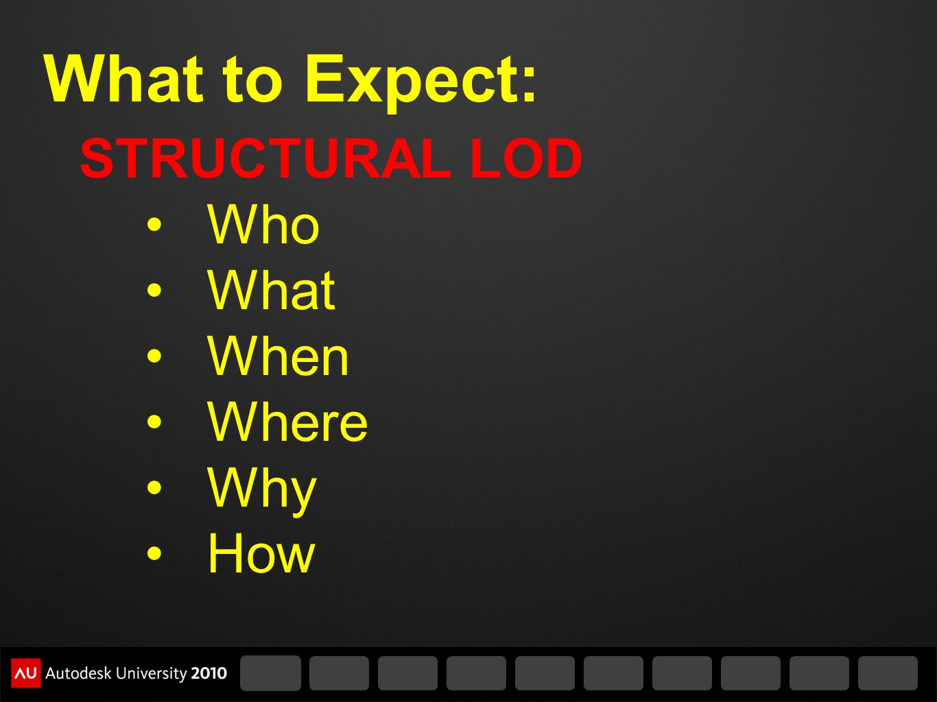 What to Expect: STRUCTURAL LOD Who What When Where Why How