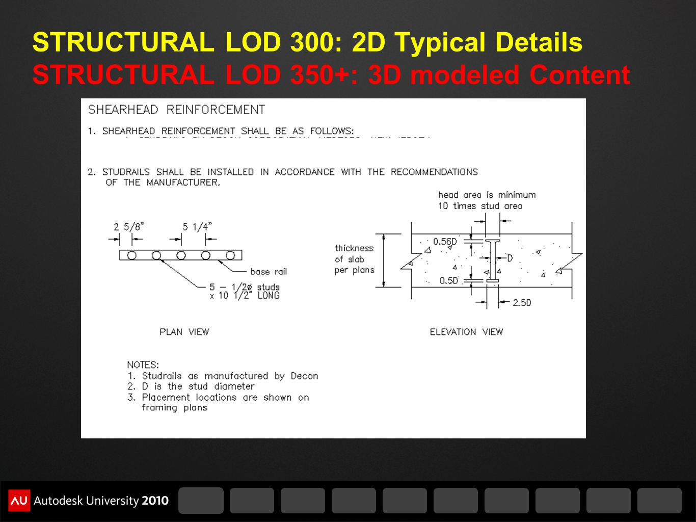 STRUCTURAL LOD 300: 2D Typical Details STRUCTURAL LOD 350+: 3D modeled Content