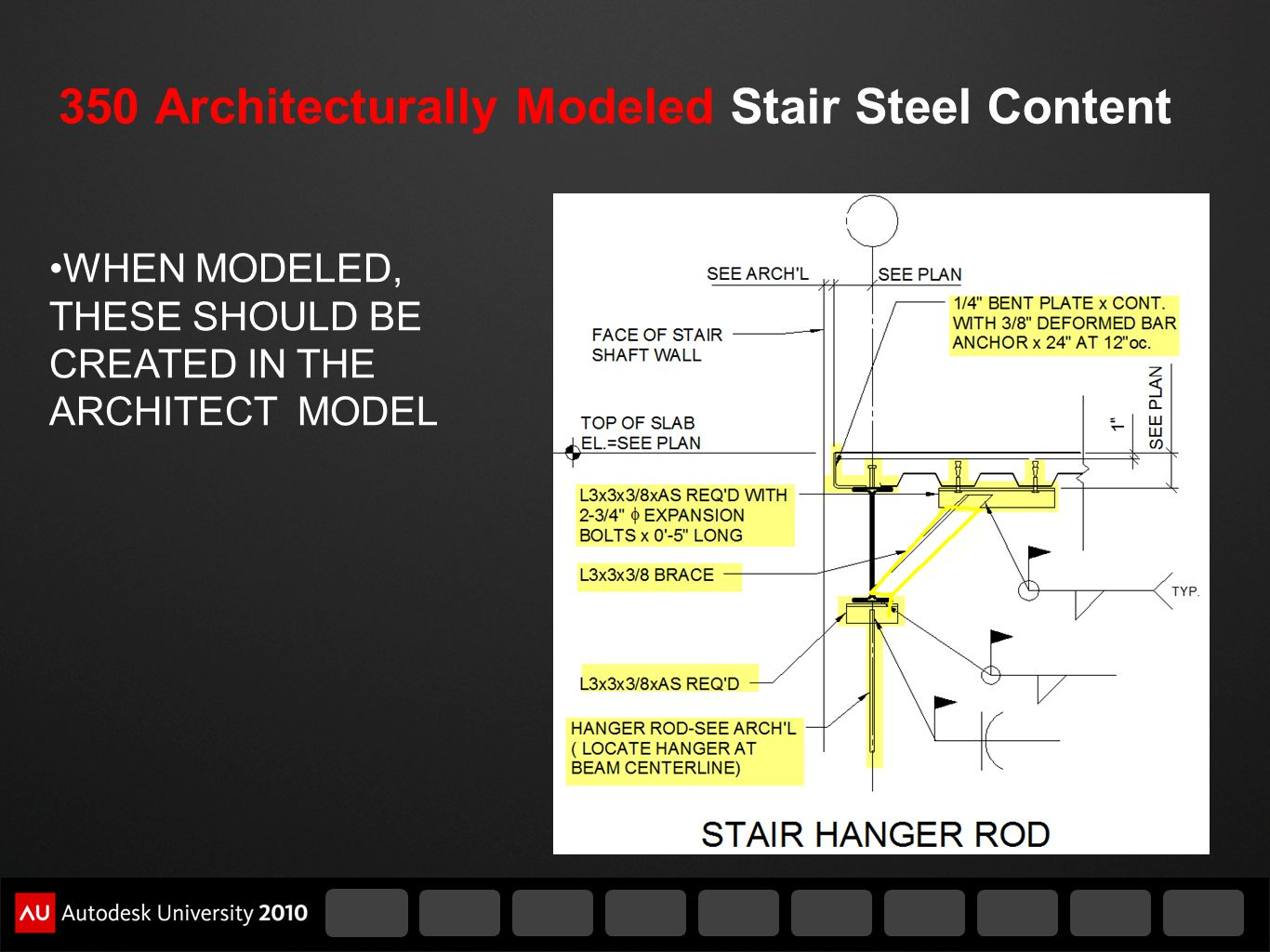 350 Architecturally Modeled Stair Steel Content