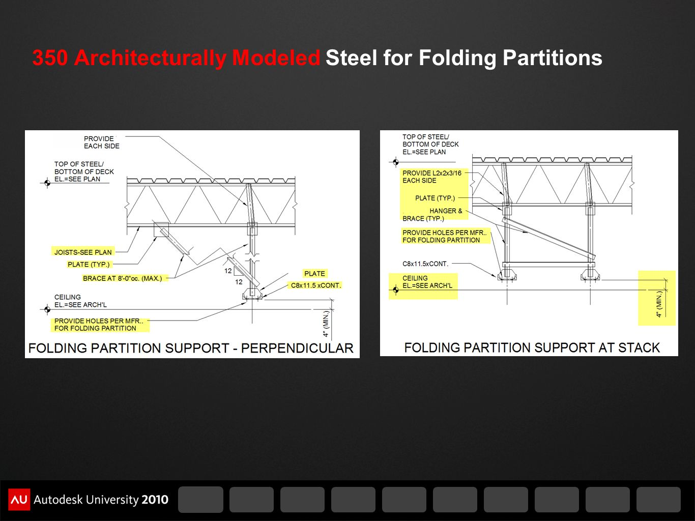 350 Architecturally Modeled Steel for Folding Partitions