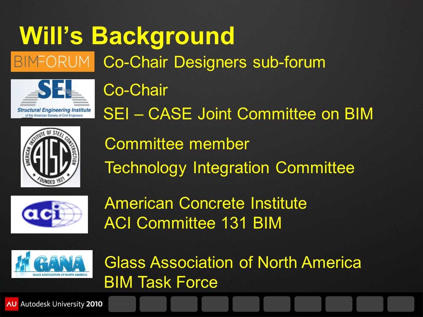Will's Background Co-Chair Designers sub-forum Co-Chair