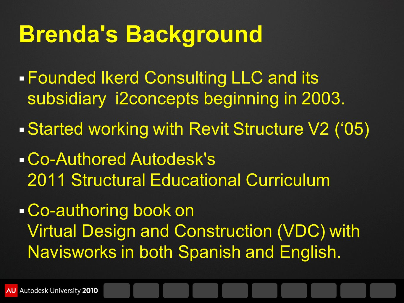 Brenda s Background Founded Ikerd Consulting LLC and its subsidiary i2concepts beginning in 2003.