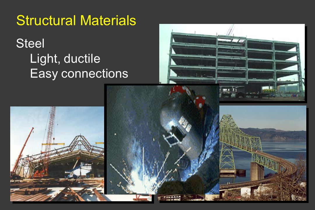 Structural Materials Steel Light, ductile Easy connections