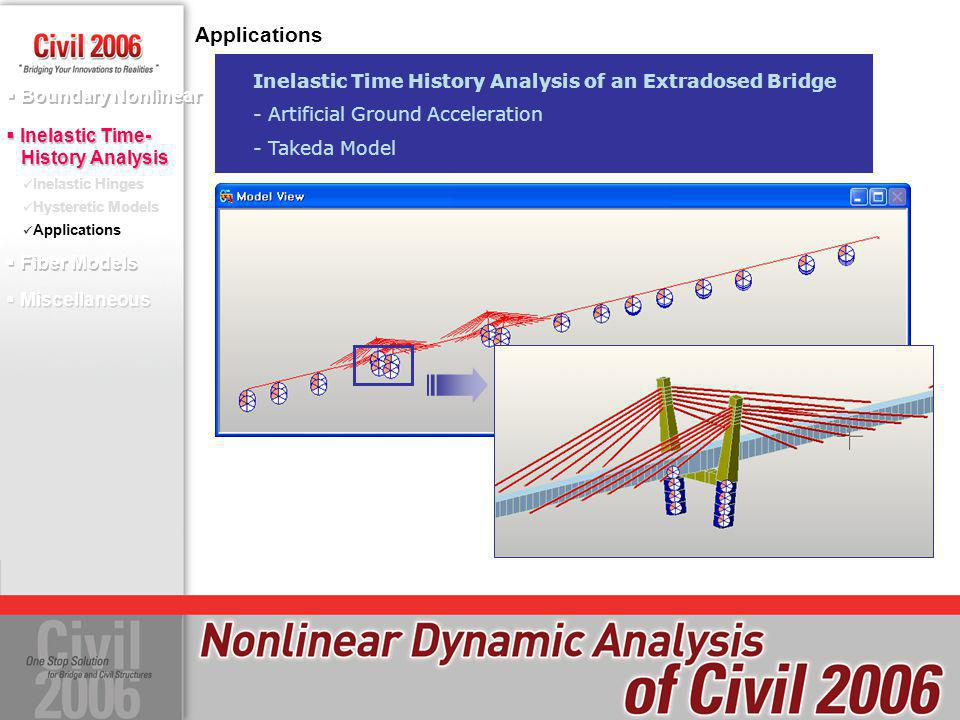 Applications Inelastic Time History Analysis of an Extradosed Bridge