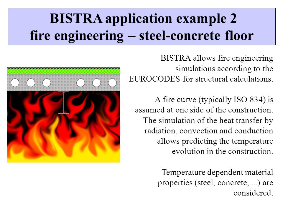 BISTRA application example 2 fire engineering – steel-concrete floor
