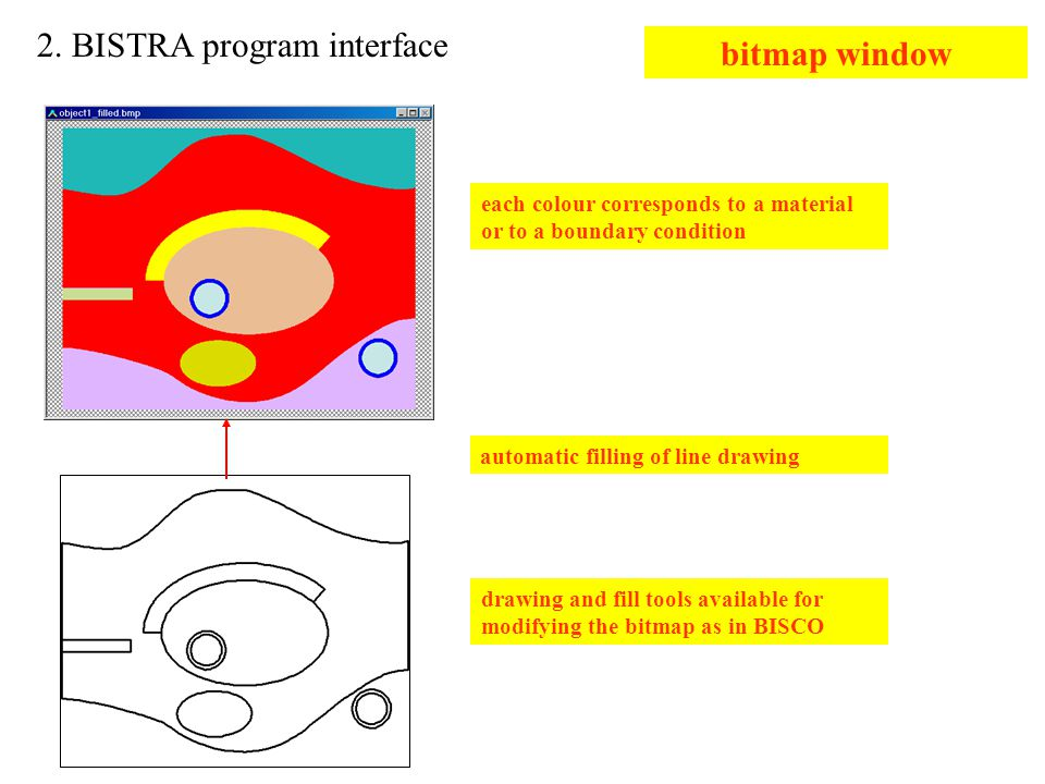 2. BISTRA program interface bitmap window