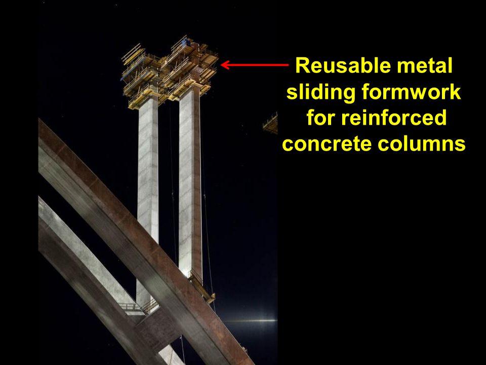 Reusable metal sliding formwork