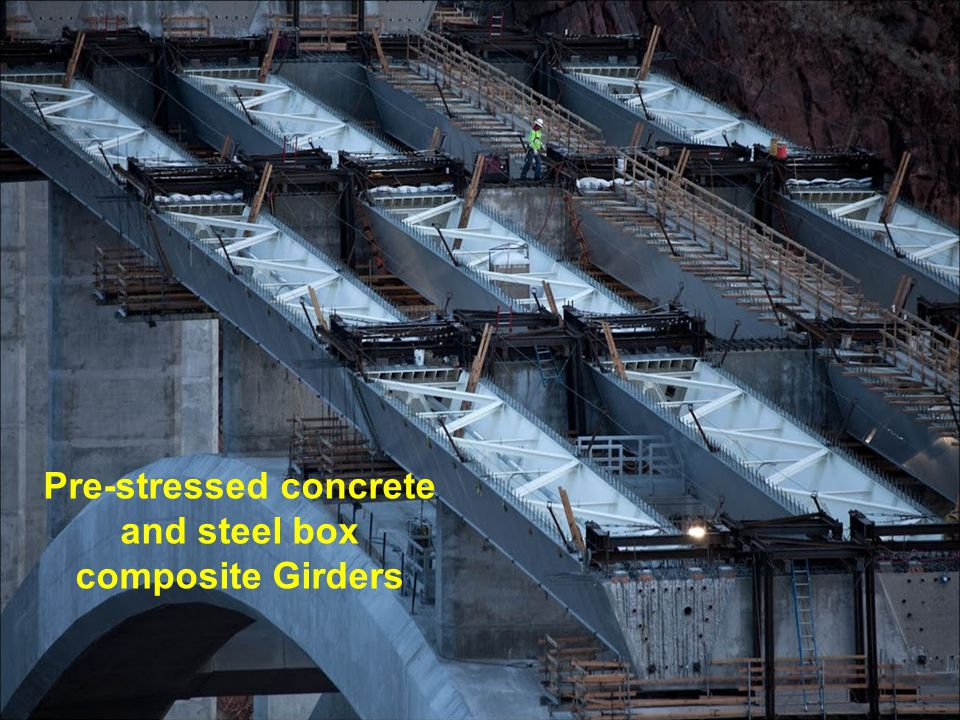 Pre-stressed concrete and steel box composite Girders
