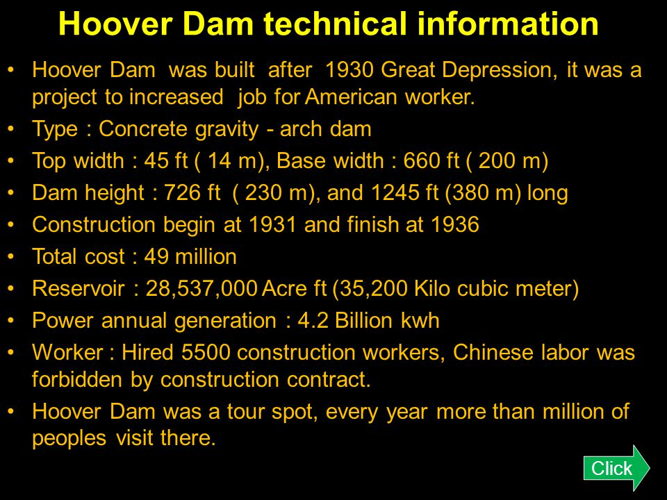 Hoover Dam technical information