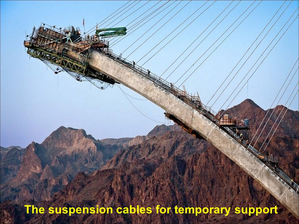 The suspension cables for temporary support