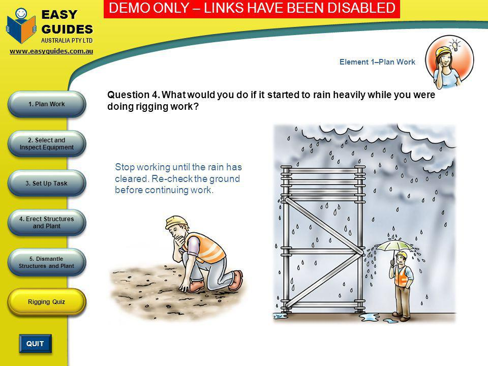 Element 1–Plan Work Question 4. What would you do if it started to rain heavily while you were doing rigging work