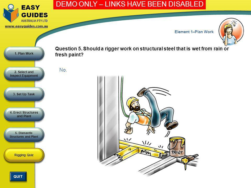 Element 1–Plan Work Question 5. Should a rigger work on structural steel that is wet from rain or fresh paint