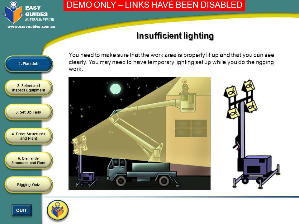 Insufficient lighting
