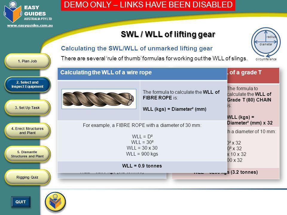 SWL / WLL of lifting gear 2. Select and Inspect Equipment