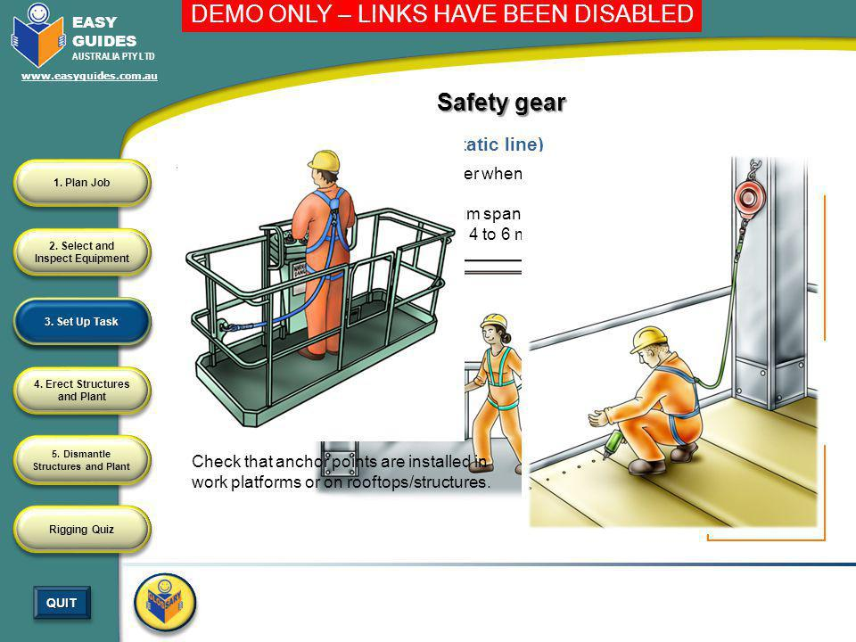 Safety gear Installing a fall arrest system (static line)