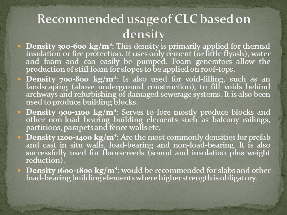 Recommended usage of CLC based on density