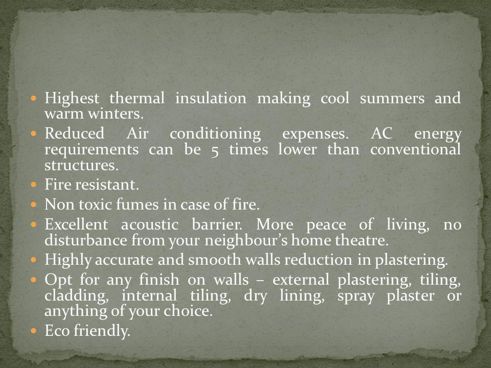 Highest thermal insulation making cool summers and warm winters.
