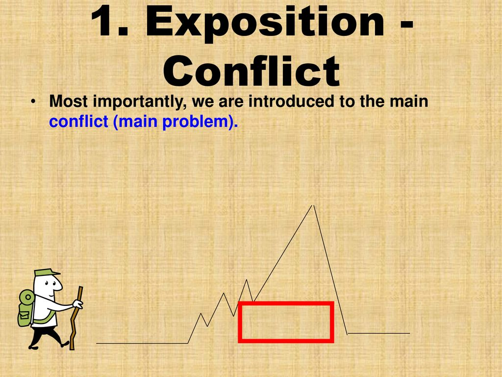 1. Exposition - Conflict Most importantly, we are introduced to the main conflict (main problem).