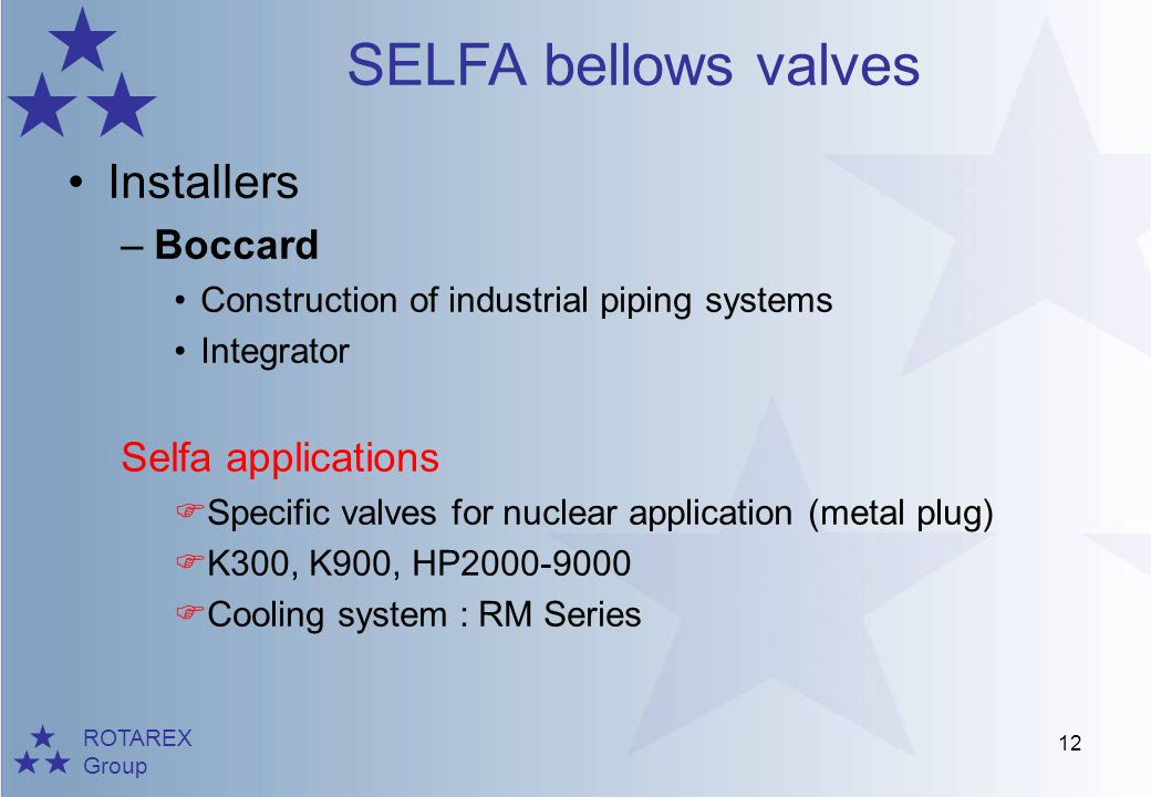 Installers Boccard Selfa applications