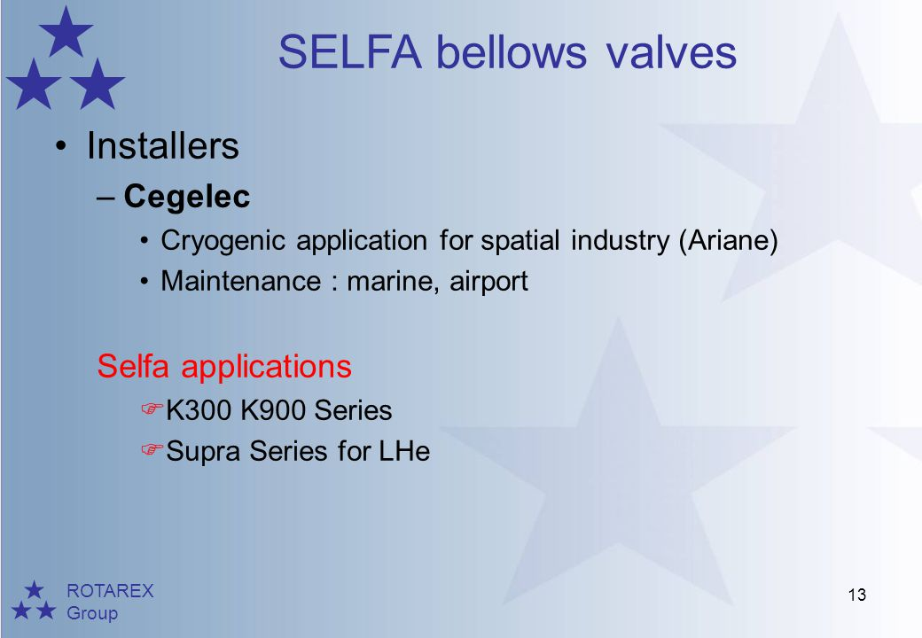 Installers Cegelec Selfa applications