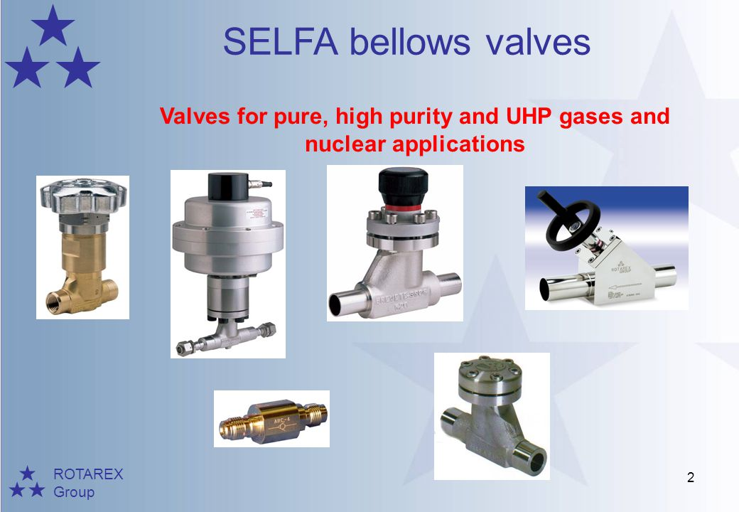 Valves for pure, high purity and UHP gases and nuclear applications