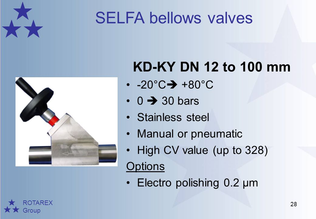 KD-KY DN 12 to 100 mm -20°C +80°C 0  30 bars Stainless steel