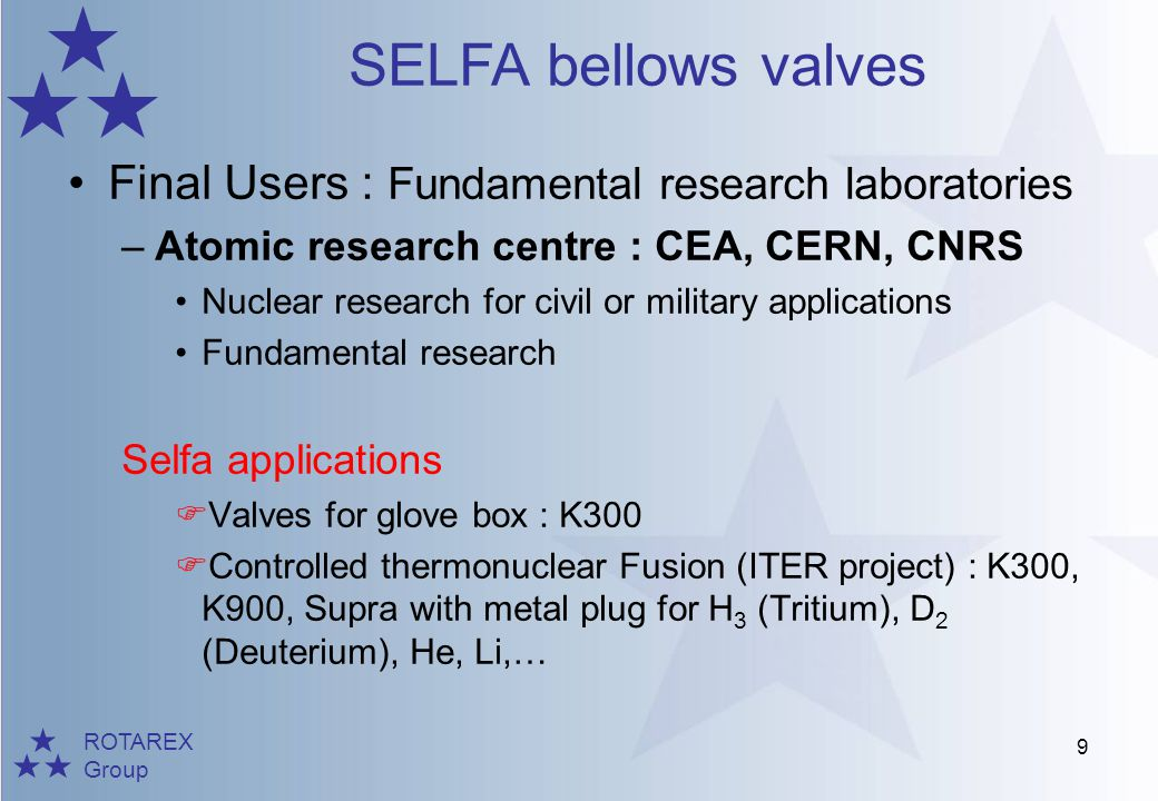Final Users : Fundamental research laboratories