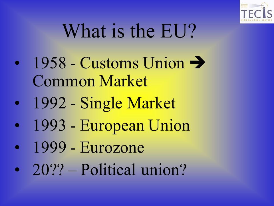 What is the EU 1958 - Customs Union  Common Market