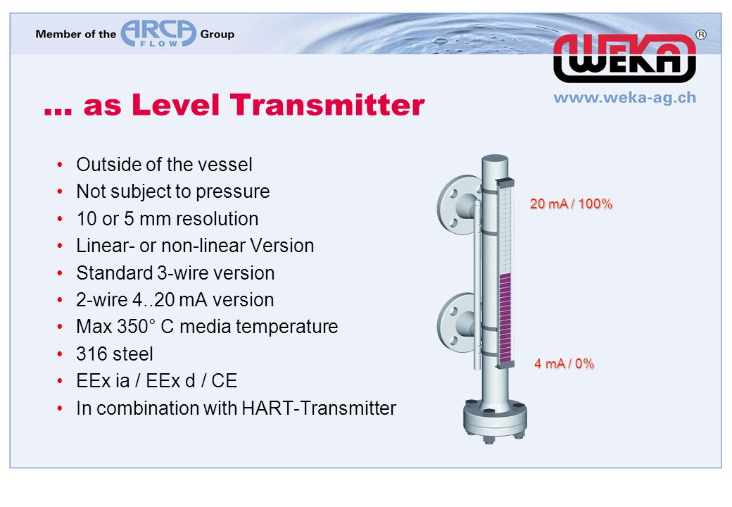 … as Level Transmitter Outside of the vessel Not subject to pressure