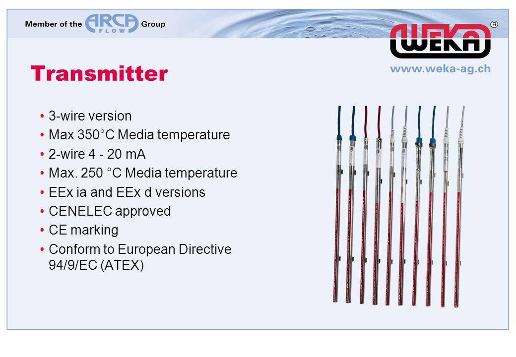 Transmitter 3-wire version Max 350°C Media temperature