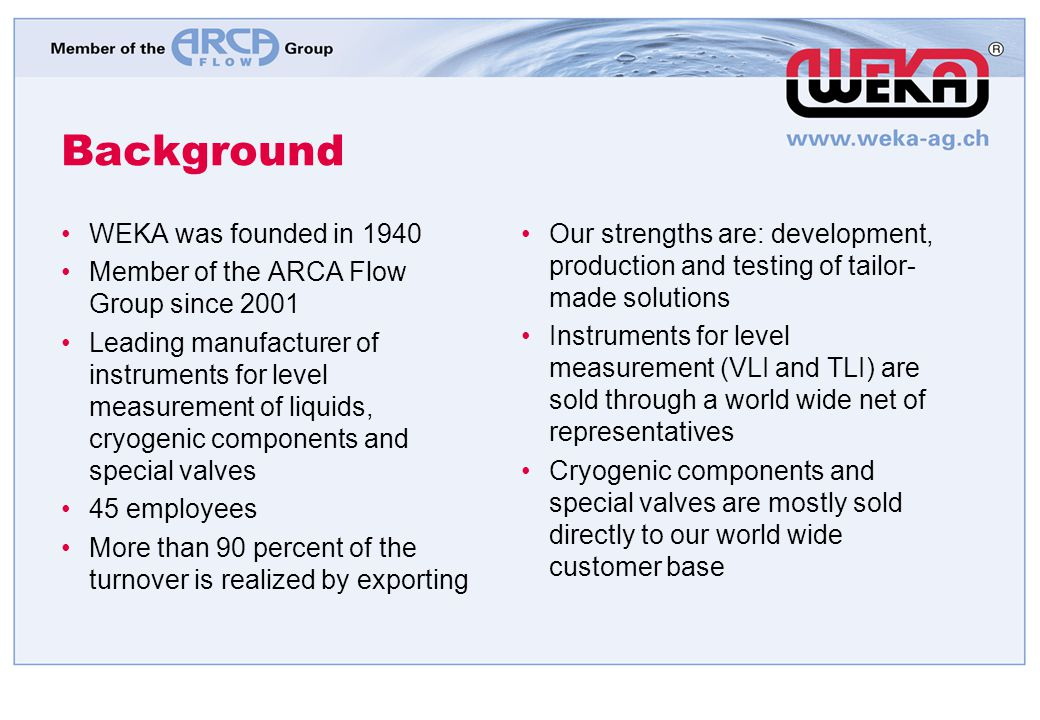 Background WEKA was founded in 1940