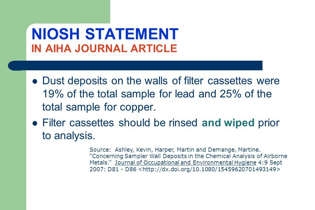 NIOSH STATEMENT IN AIHA JOURNAL ARTICLE