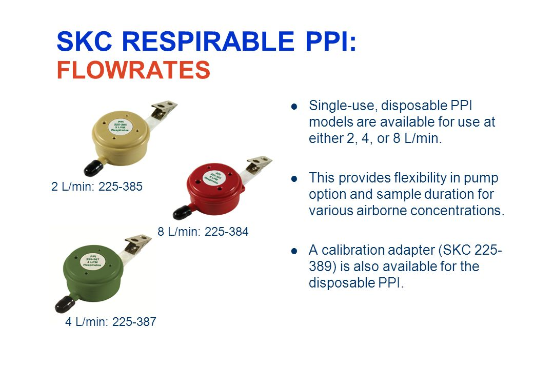 SKC RESPIRABLE PPI: FLOWRATES