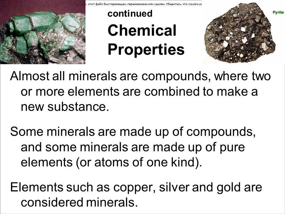 continued Chemical Properties