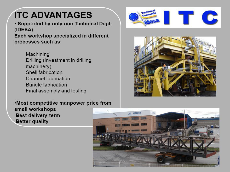 ITC ADVANTAGES Supported by only one Technical Dept. (IDESA)
